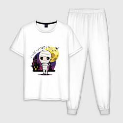 Пижама хлопковая мужская Мумия цвета белый — фото 1