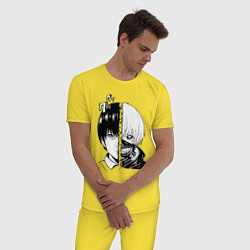 Пижама хлопковая мужская Токийский гуль цвета желтый — фото 2