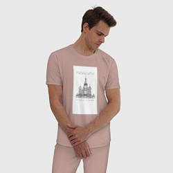 Пижама хлопковая мужская Москва координаты цвета пыльно-розовый — фото 2