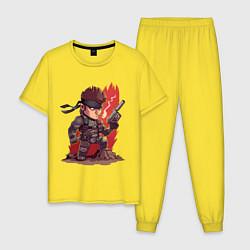 Пижама хлопковая мужская Solid Snake цвета желтый — фото 1