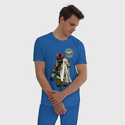 Пижама хлопковая мужская Спасатель МЧС цвета синий — фото 2