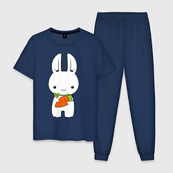 Пижама хлопковая мужская Зайчик с морковкой цвета тёмно-синий — фото 1