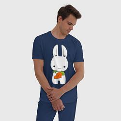 Пижама хлопковая мужская Зайчик с морковкой цвета тёмно-синий — фото 2