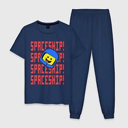 Пижама хлопковая мужская Spaceship цвета тёмно-синий — фото 1