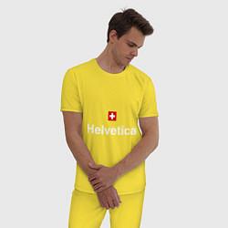 Пижама хлопковая мужская Helvetica Type цвета желтый — фото 2