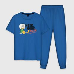 Пижама хлопковая мужская Need More Sleep цвета синий — фото 1