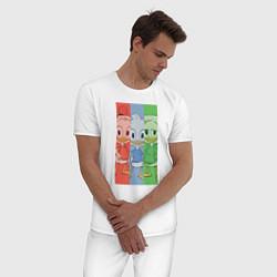 Пижама хлопковая мужская Вилли, Билли, Дилли цвета белый — фото 2