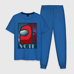 Пижама хлопковая мужская Among Us Vote цвета синий — фото 1