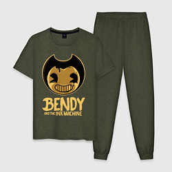 Пижама хлопковая мужская Bendy And The Ink Machine цвета меланж-хаки — фото 1