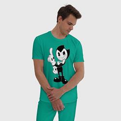 Пижама хлопковая мужская Bendy And The Ink Machine цвета зеленый — фото 2