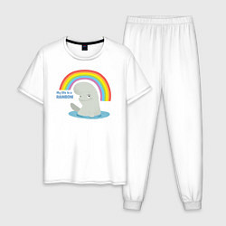 Пижама хлопковая мужская My Life Is A Rainbow цвета белый — фото 1