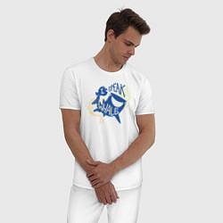 Пижама хлопковая мужская I Speak Whale цвета белый — фото 2