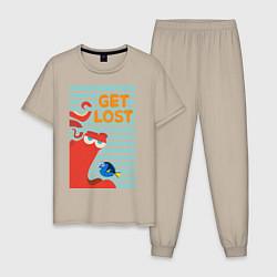 Пижама хлопковая мужская Get Lost цвета миндальный — фото 1