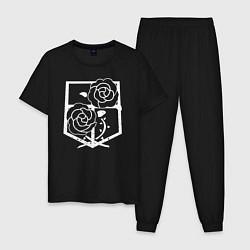 Пижама хлопковая мужская Атака на титанов - Гарнизон цвета черный — фото 1