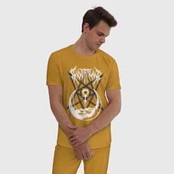 Пижама хлопковая мужская GHOSTEMANE цвета горчичный — фото 2