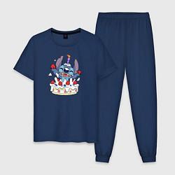 Пижама хлопковая мужская День рождения цвета тёмно-синий — фото 1