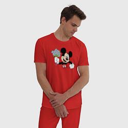 Пижама хлопковая мужская Микки с букетом цвета красный — фото 2