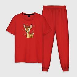 Пижама хлопковая мужская Влюбленный Бэмби цвета красный — фото 1