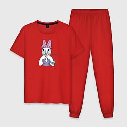 Пижама хлопковая мужская Дейзи Дак цвета красный — фото 1