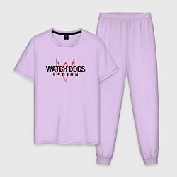 Пижама хлопковая мужская WATCH DOGS: LEGION цвета лаванда — фото 1