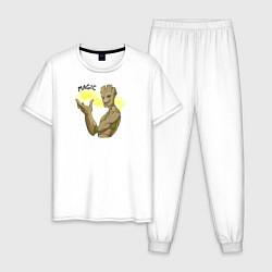 Пижама хлопковая мужская Магия от Грута цвета белый — фото 1