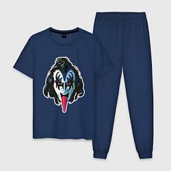Пижама хлопковая мужская KISS THIS цвета тёмно-синий — фото 1