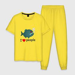 Пижама хлопковая мужская Добрая пиранья цвета желтый — фото 1