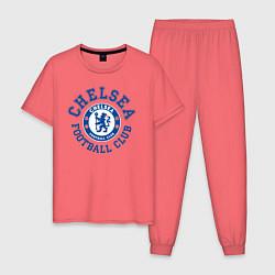 Пижама хлопковая мужская Chelsea FC цвета коралловый — фото 1