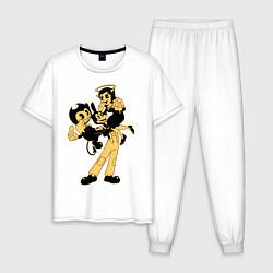 Пижама хлопковая мужская Bendy And The Ink Machine цвета белый — фото 1