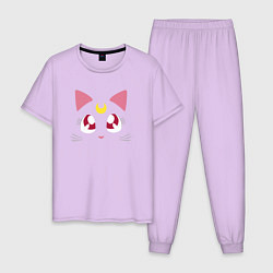 Пижама хлопковая мужская Luna Cat Sailor Moon цвета лаванда — фото 1