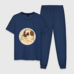 Пижама хлопковая мужская Мечта мопса цвета тёмно-синий — фото 1