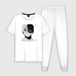 Пижама хлопковая мужская Шото Тодороки цвета белый — фото 1