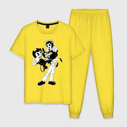 Пижама хлопковая мужская Bendy And The Ink Machine цвета желтый — фото 1
