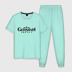 Пижама хлопковая мужская Genshin Impact Logo Z цвета мятный — фото 1