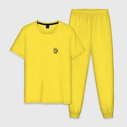Пижама хлопковая мужская Among Us All color цвета желтый — фото 1