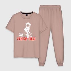 Пижама хлопковая мужская Сектор Газа цвета пыльно-розовый — фото 1