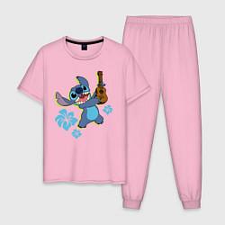 Пижама хлопковая мужская Стич цвета светло-розовый — фото 1