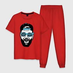 Пижама хлопковая мужская Хипстер цвета красный — фото 1