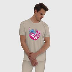 Пижама хлопковая мужская Стич цвета миндальный — фото 2