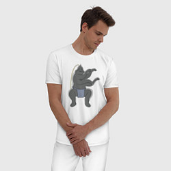 Пижама хлопковая мужская Альфонс Элрик цвета белый — фото 2