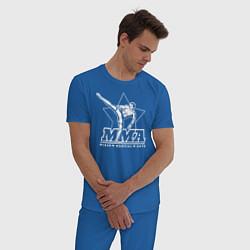 Пижама хлопковая мужская MMA цвета синий — фото 2