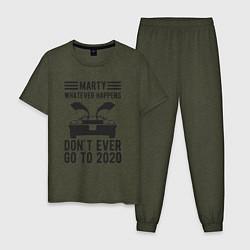 Пижама хлопковая мужская Марти - никогда не едь в 2020 цвета меланж-хаки — фото 1