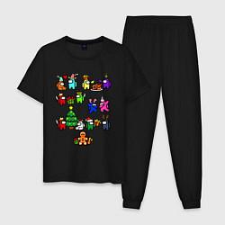 Пижама хлопковая мужская AMONG US НОВОГОДНИЙ цвета черный — фото 1