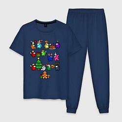 Пижама хлопковая мужская AMONG US НОВОГОДНИЙ цвета тёмно-синий — фото 1