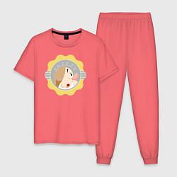 Пижама хлопковая мужская Гном Чихун цвета коралловый — фото 1