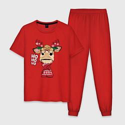 Пижама хлопковая мужская Бык - олень цвета красный — фото 1