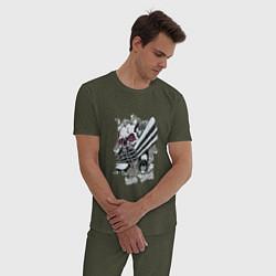 Пижама хлопковая мужская Бешеный двигатель цвета меланж-хаки — фото 2