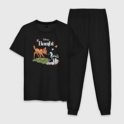 Пижама хлопковая мужская Flower and Bambi цвета черный — фото 1