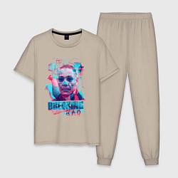 Пижама хлопковая мужская Густаво Фринг цвета миндальный — фото 1