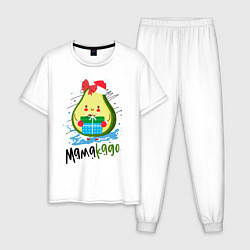 Пижама хлопковая мужская Новый Год цвета белый — фото 1